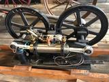 Dual piston, single cyl. - opposed gas engine, hand made propane carburetor, dual crank shafts, 3/4