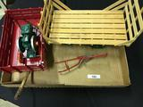 Assortment inc. Manure Spreader, Flat Hay Rack, Wagon, and Hit Miss Engine