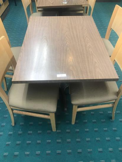 "30"" x 42"" Table with single pedestal and 4 wood chairs"