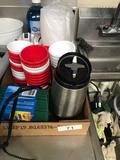 Farberware coffee grinder and assortment of cups