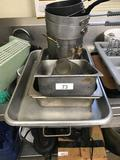 Assortment of SS Pots, Pans and tray