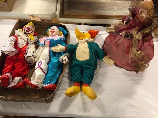 Boy & Girl doll w/ composition head, clown & Woody Woodpecker dolls and Boirdour doll.