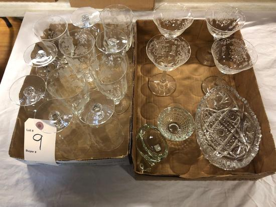 Etched glass...& Misc. glass dishes