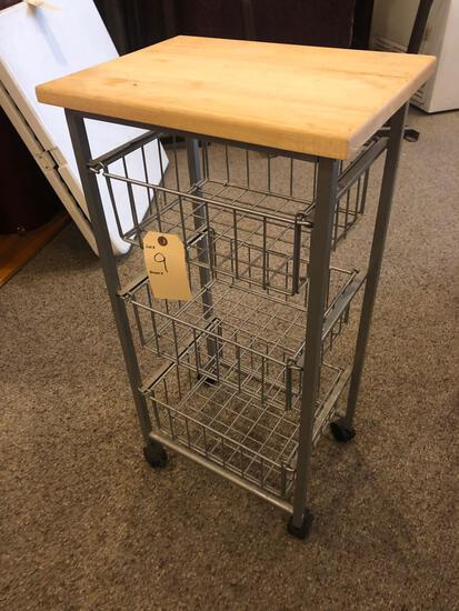 Small serving rack on rollers w/ (3) wire drawers. - NO SHIPPING!