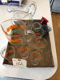 Orange pattern juice pitcher, (5) glasses and more!