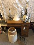 Sewing machine cabinet (cabinet only) and (5) various table lamps w/ some shades. NO SHIPPING!