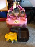 Child's play vanity set, Fisher price family house, and (2) plastic child's booster seats - NO