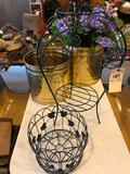 Wire flower stand, (2) metal flower containers and plastic flowers- NO SHIPPING!