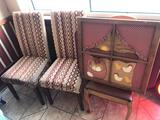 (2) Upholstered chairs, decorative chicken design wall hanging picture, large vinyl suitcase and
