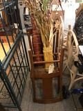 2 Oak padded Chairs and 3 Decor Plants - NO SHIPPING!