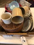 Several 3-compartment 11'' dinner plates (Kys-ite) plus other glass, plastic and porcelain serving