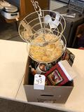 Various cups, chicken salt & peppers, metal chicken tiered decor tray,and more!