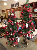 (2) Christmas trees w/ ornaments, approx. 3'-4' tall.