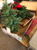 Tote w/ Christmas wreath and nativity items.