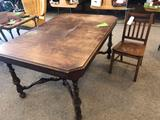 42'' x 60'' antique wood table w/ solid wood mission style chair