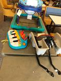 Infant stroller, baby toy and child's bike seat w/ brackets.