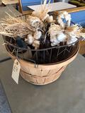 Wood basket, large metal wire basket and (3) glass lidded bottles.