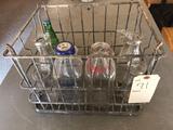 12 compartment metal milk bottle case/carrier, Poudre Valley creamery quart milk bottle, Blue Bunny