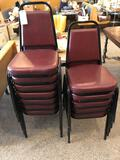(12) steel framed leather seat/back stackable chairs - Nice Condition - NO SHIPPING!