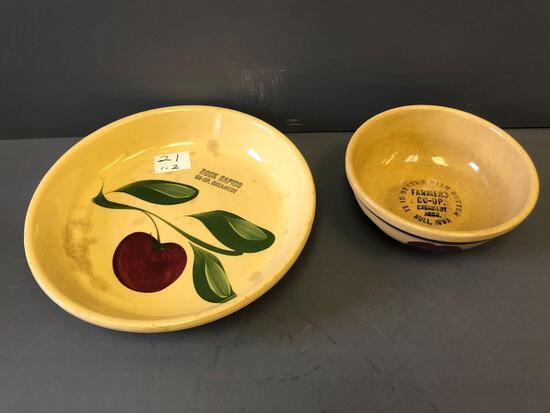 6'' Watt Ware Bowl & #33 Pie Plate