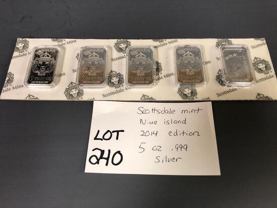 (5) 1oz. .999 Silver Bars