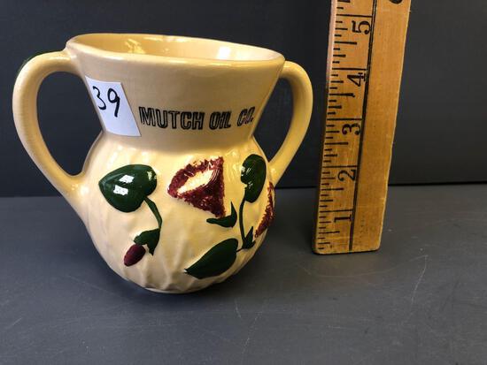 "#86 Morning Glory pattern Sugar, mold #98 adv. ""Mutch Oil Co."" - small chip on rim."
