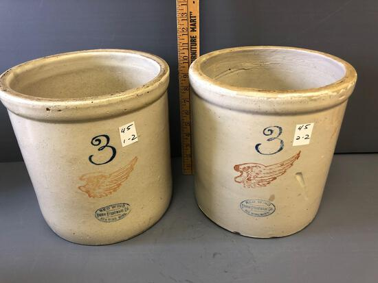 (2) 3gal. Red Wing crocks - displays well, does not ring.