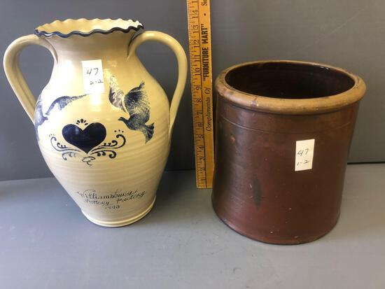 "2 items incl. 3gal. crock & handled vase adv. ""Victor Cullen Academy""."