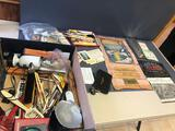 Various adv. wood pencils, bullet pencils, thermometers, adv. antique mirrors, calenders, and much
