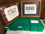 (3) Empty Silver Eagle Mint Boxes & (2) Framed Prints