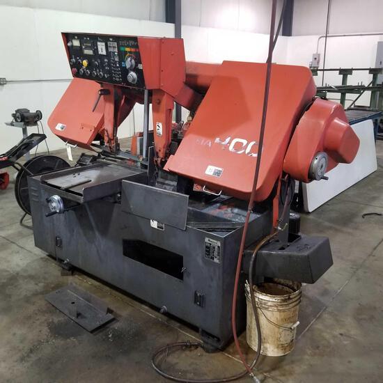 1990 AMADA H-400 Programable Power Saw w/ Rolling Rack Sn 41602104