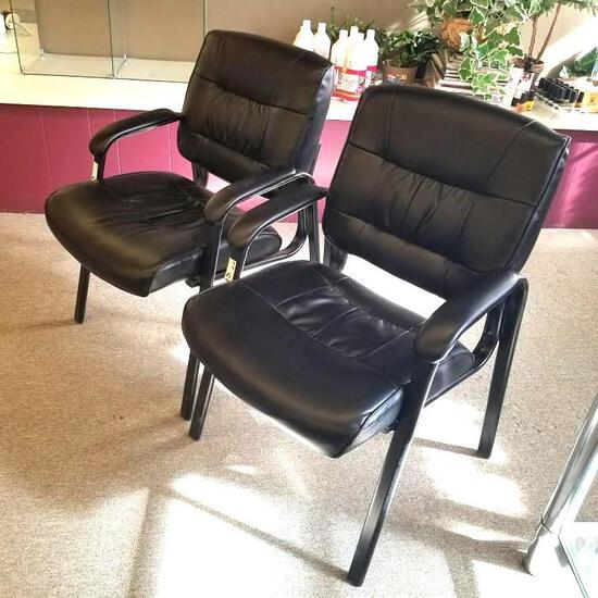 2] BLACK METAL FRAME WAITING ROOM CHAIRS