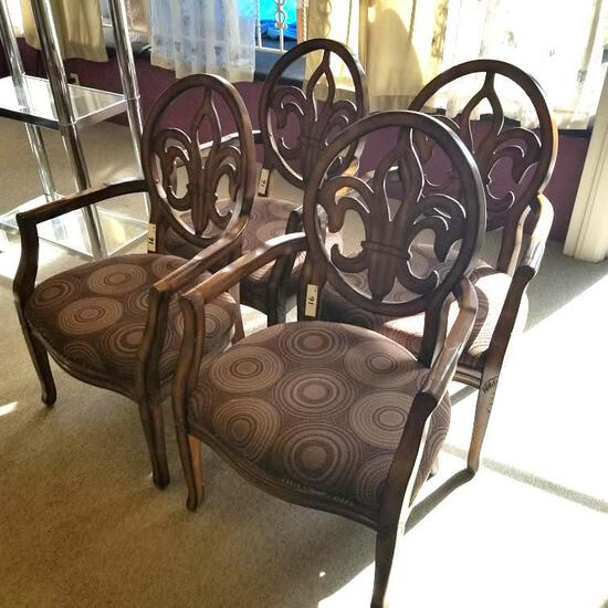 4] PADDED WOOD FRAME WAITING ROOM CHAIRS