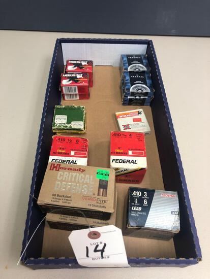 Various 410 ammo shells, (2) full boxes of 00 buck shot 12-gauge shells & (4) full boxes of 22 cal.
