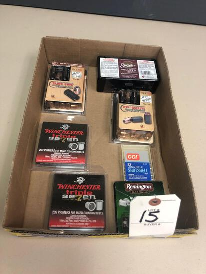 Winchester triple 7 primers for muzzle loading, (1) full new box of muzzle loading propellant