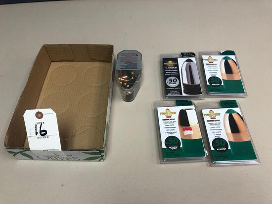 (4) New containers of Power Belt bullets .50 cal. and more!