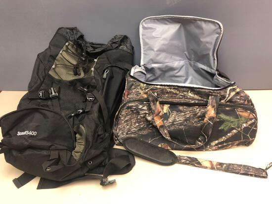 (1) backpack & (1) camouflage hunting duffel bag.