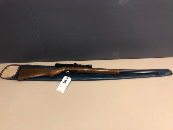 Marlin mod. 40, 22 cal. LR only, tube feed rifle w/ BSA R3-7x20 scope. Wood stock w/ a few minor