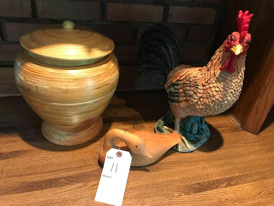 Rooster, wooden duck and covered decorative pot