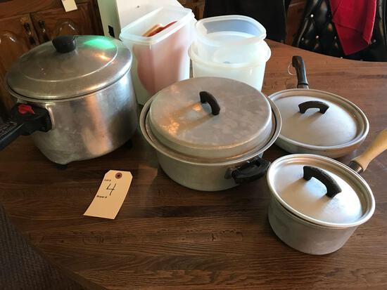 Wearever pans, Sunbeam electric saucepan and Tupperwear