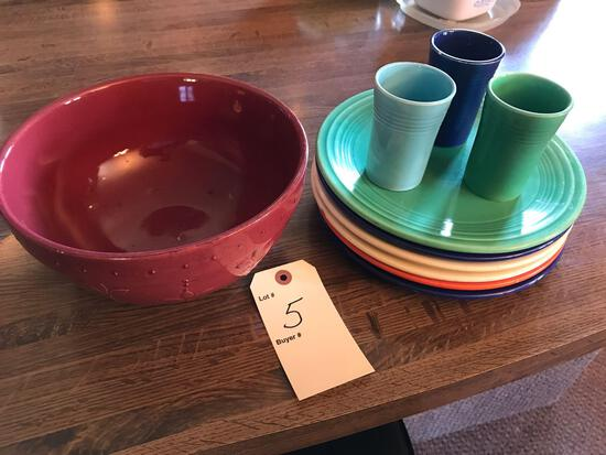 Assorted Fiestaware and Sorrento bowl