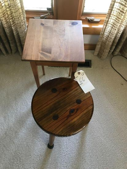 "14"" high 3 legged wooden stool and 11"" square 19.5"" tall wood table. NO SHIPPING!"