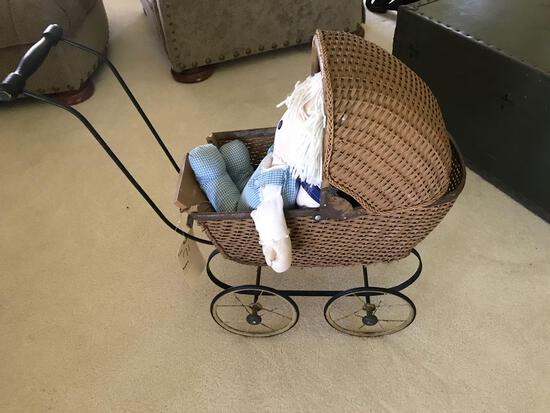 Antique wicker doll buggy with doll - orignial nice shape. NO SHIPPING!