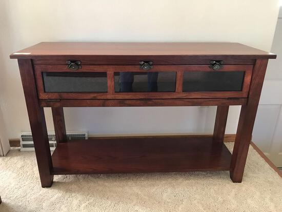 Oak Sofa Table with Glassfront door, 46'' L x 16'' D x 29'' T. NO SHIPPING AVAILABLE!