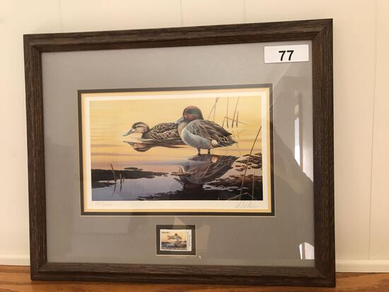 Ducks Unlimited Framed Print w/Stamp by Dietmar Krumrey 267/2000, 19.5'' x 16''