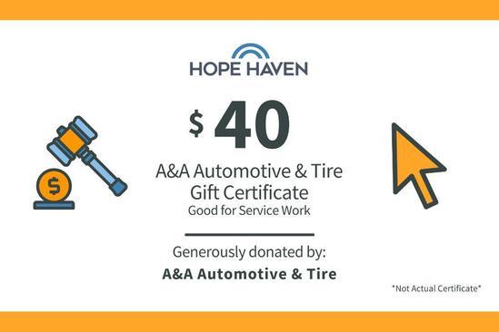 A & A Auto $40 Gift Certificate