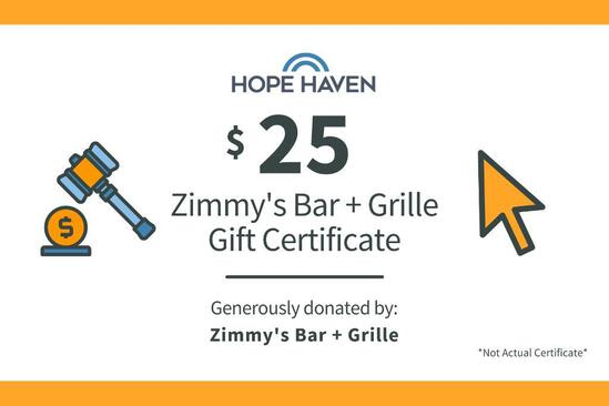 Zimmy's Bar & Grill $25 Gift Certificate