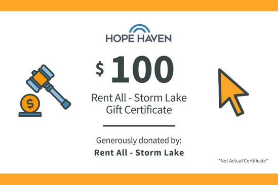 Rent All $100 Gift Certificate