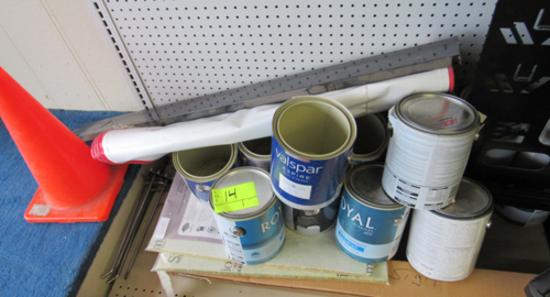 Orange cone, display paint cans & banners