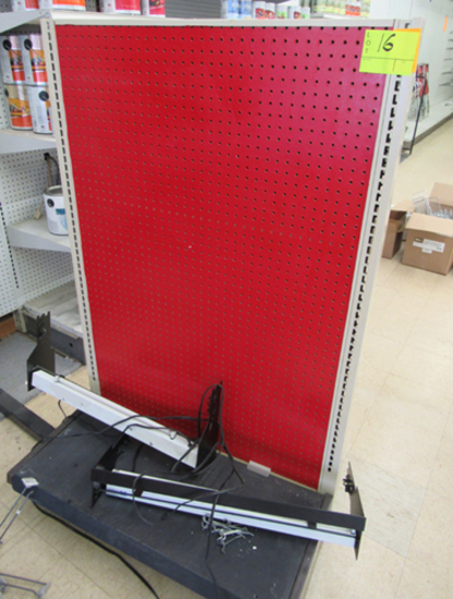 Pegboard endcap display w/ lights